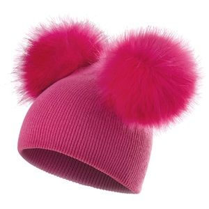 Other - Dual Pom Pom Baby/Toddler Hot Pink Knit  Beanie